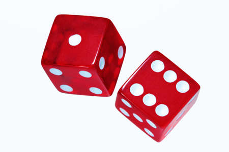 rolling dice: Two red dice on white background  Stock Photo