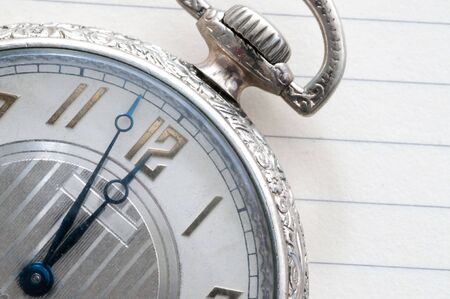 Extreme closeup of face of antique pocket watch
