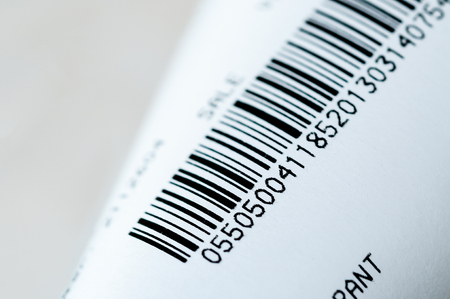 Barcode printout to identify a product, typically found on a receipt. Suitable for a business background. 스톡 콘텐츠