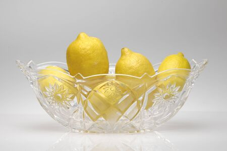 glycol: glass tray with lemons Stock Photo