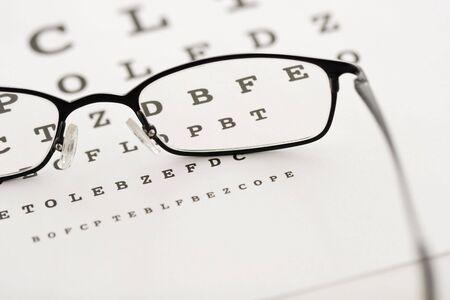 Eye glasses on a test chart photo