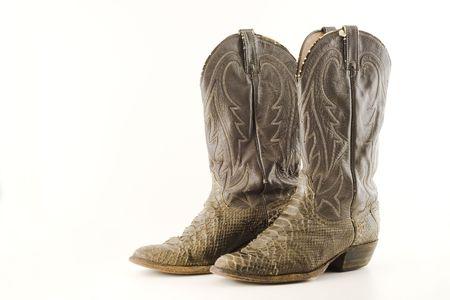 Old serpiente botas de cowboy de piel  Foto de archivo - 384635