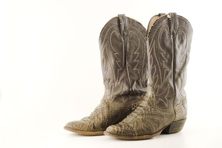 work boots: Old snake skin cowboy boots Stock Photo