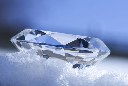 Diamond resting on ice