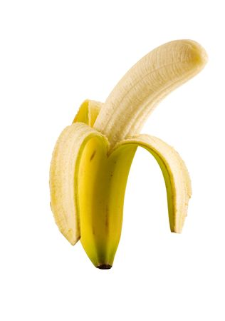 peeled banana: Isolated peeled banana with path