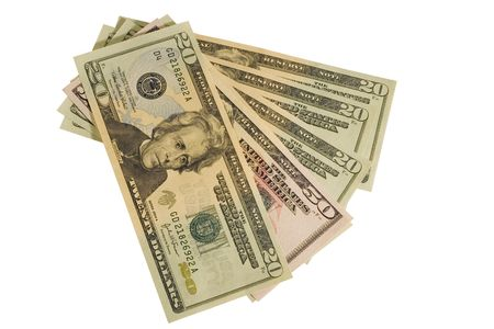 American currency with clipping path