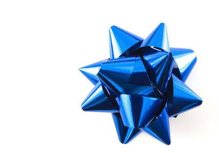 greeting christmas: A blue Christmas bow over white
