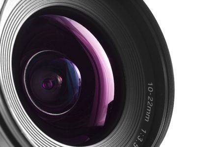 A close-up of a wide angle camera lens Stock Photo