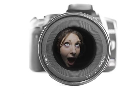 Camera and wide angle lens with a female reflected, concept camera noise photo