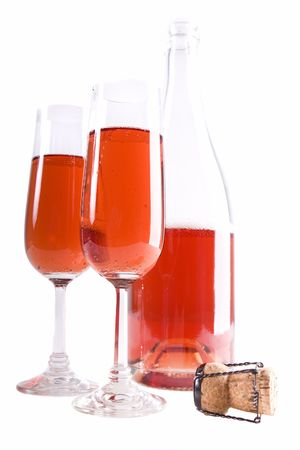 Red colored champagne in high key(focus on front glass)