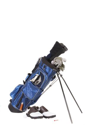 Isolated golfing equipment with shoes, clubs and bag photo