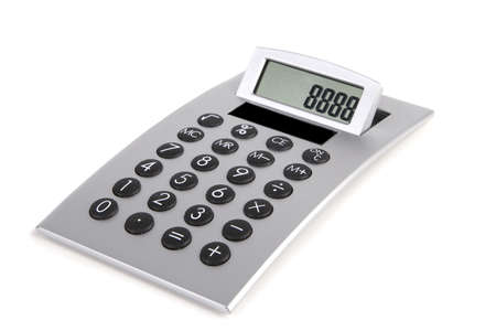electronic commerce: Silver calculator close-up on a white background