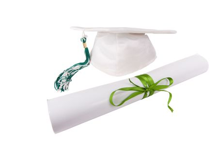 Graduation cap and diploma isolated on white Zdjęcie Seryjne