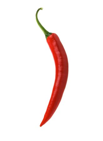 A single red hot chili peppers over white Zdjęcie Seryjne