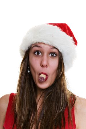 liquor girl: A woman in a santa hat with a cork in her mouth. (Put a cork in it)