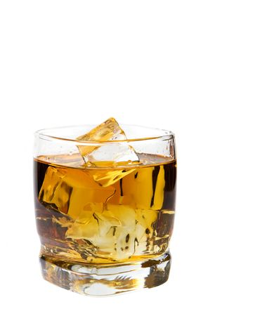 nightcap: A glass of whiskey on the rocks