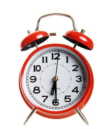 Closeup of a classic red alarm clock