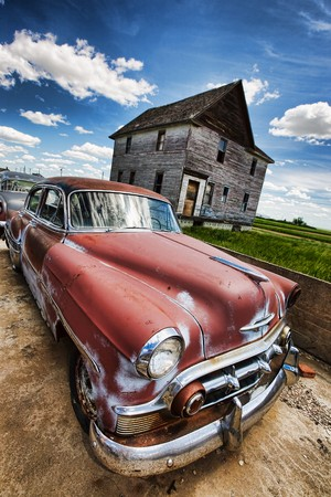 Old vintage cars left rusting in a ghost town
