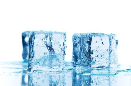 A macro shot of blue ice melting
