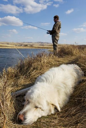 A dog sleeps as his master is fishing focus on the dog photo