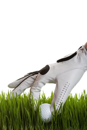A golfer retrieves a golf ball from the long grass on white Stock Photo