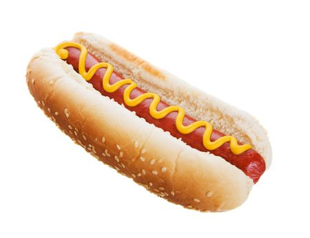 American hot dog on a white background photo