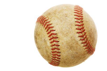 High rez worn baseball on a white background