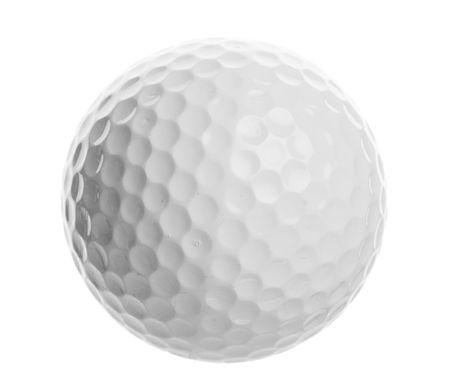 白い背景の上の孤立したゴルフ ボールのクローズ アップ