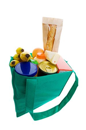 Eco friendly grocery bag full of food photo