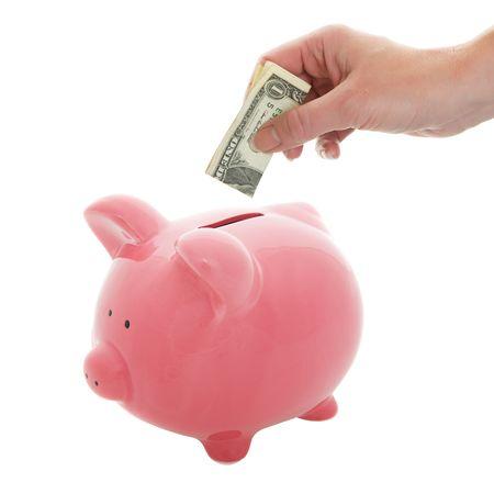 女性開き手左右ピンク貯金にドル札を入れて