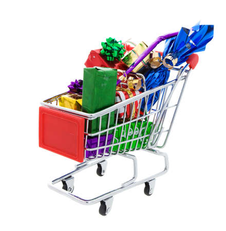 a Shopping cart full of different presents on a white background Stock Photo - 5952320
