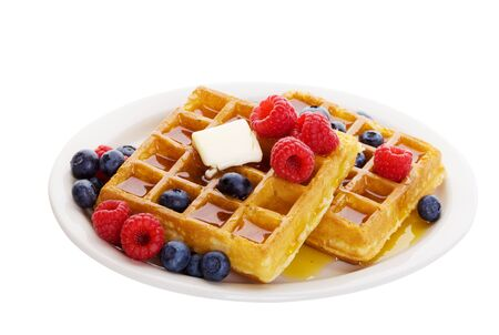 syrup: Waffles with mixed fruit and maple syrup