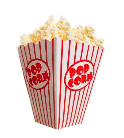 popcorn: Una casella di ampia classica di popcorn Teatro isolata on white  Archivio Fotografico