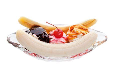 Banana split ice cream on a white background Stock Photo - 6864352