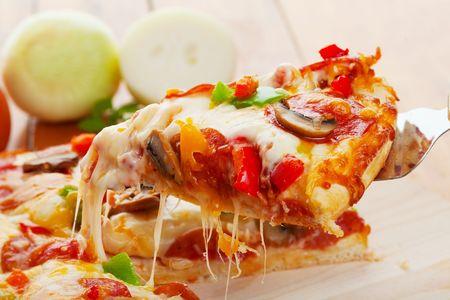 pizza: Un sector de pizza Supremo ser levantado  Foto de archivo