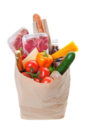 pastry bag: A grocery bag full of Meat with healthy fruits and vegetables  Stock Photo