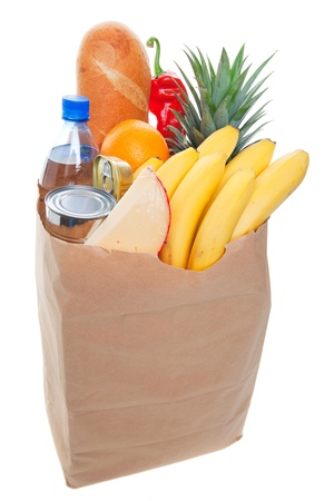 A grocery bag full of  healthy fruits and vegetables  Stok Fotoğraf