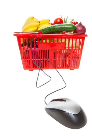 online: Grocery basket with Computer Mouse, concept of online shopping