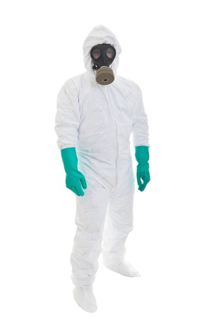 protective wear: Man in  protective clothing and a gasmask on a white background