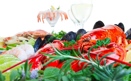 Fresh and delicious seafood dish with white background photo