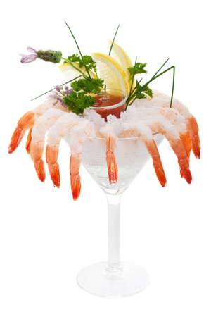 Chilled Shrimp cocktail on a white background