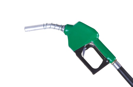A green fuel nozzle on a white background