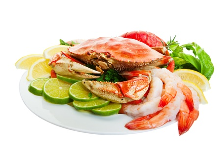 Platter of crab and lobster tails,shrimp, Focus on the crab.