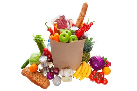 meat soup: A paper bag full of groceries, surrounded by fruits, vegetables, bread, bottled beverages, and canned goods. studio isolated on white background.