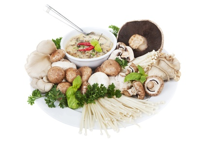 A plate of mixed mushrooms with a bowl of soup on a white background, main focus is on the soup. Stock Photo - 19502202