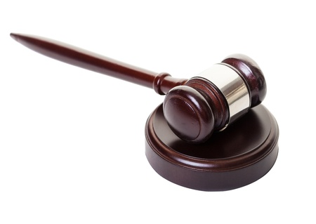 auction win: A gavel and block on a white background Stock Photo