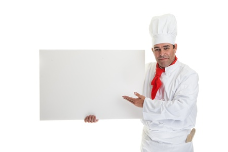 Chef holding a blank board on a white background.