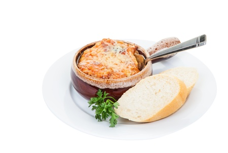 French onion soup with cheese and bread  版權商用圖片