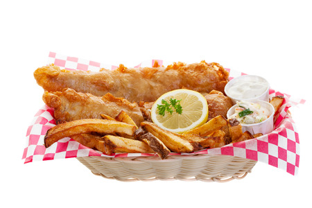 Traditional fish and chips on a white background