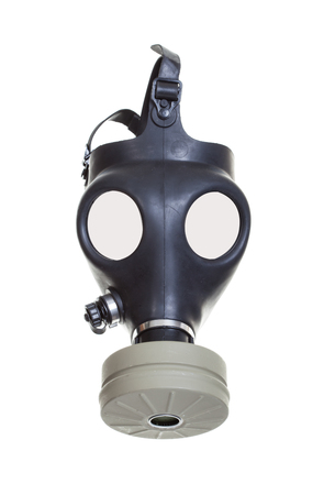 Old vintage gas mask on a white background  photo